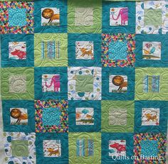 Quilting for block within a block quilt  Modern Baby Quilt by QOB, via Flickr