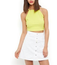 Neon Lime Chevron Ribbed High Neck Crop Top  | New Look