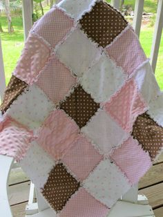 Friend making a rag quilt that is similar, also brown and pink