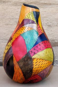Free+Gourd+Painting+Patterns | Free Hand Geometric Design with Hand Made Paper lining inside. Food ...