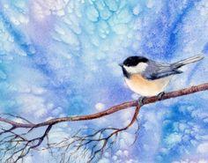 CHICKADEE 16 watercolor bird painting, painting by artist Barbara Fox