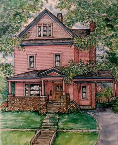 Items similar to Custom Watercolor House Portrait,handpainted from your photos,Original pen and ink with watercolor painting of your home,Unique Gift on Etsy Watercolor Portraits, Watercolor Paintings, Watercolors, Watercolor Trees, Watercolor Landscape, Abstract Paintings, Pen And Wash, Watercolor Architecture, House Illustration