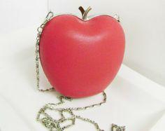 Leather clutch apple. Clutch natural soft leather fashion coral. Leather handbag. Miniature clutch purse.