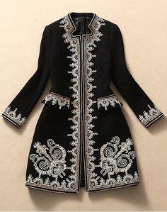 Brodé Manteau en laine  noir Lily & Co