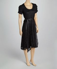 Look what I found on #zulily! Black Sheer Lace Ruched Sleeve Dress by Robbie Bee #zulilyfinds