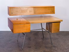 Early 1950s George Nelson Executive Office Desk with Leather Top