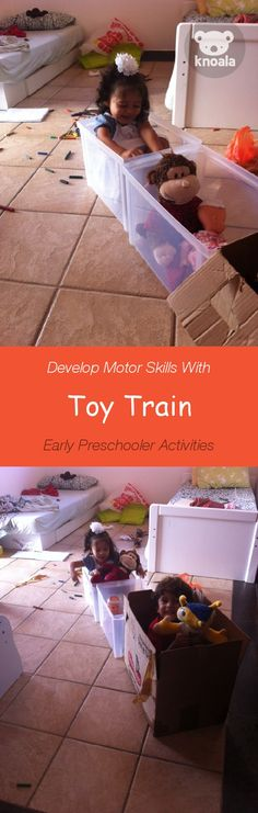 Knoala Early Preschooler Activity: 'Toy Train' helps little ones develop Motor skills. #Knoala #KidsActivities *What an great collection of no-prep activities for kids!