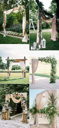 chic outdoor wedding arches with fabric drapery wedding arch Gorgeous Wedding Ceremony Ideas with Draped Fabric for 2019 - Page 2 of 2 - Oh Best Day Ever Wedding Ceremony Ideas, Gazebo Wedding Decorations, Wedding Arch Rustic, Wedding Arch Flowers, Gazebo Ideas, Outdoor Wedding Arches, Rustic Wedding Archway, Wedding Archways, Wedding Mandap