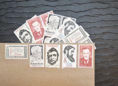 Power of the Pen .. UNused Vintage Postage Stamps  by VerdeStudio, $6.95