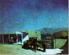 Image detail for -Oscar Berninghaus - Horses in Front of Kit Carsons House Painting Light Painting, House Painting, Kit Carson, Southwestern Art, New Mexican, Mexican Artists, Landscape Paintings, Landscapes, Nocturne