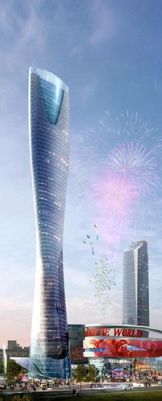Shenyang Lotte World Tower, Shenyang, China by RTKL and Junglim Architecture :: 65 floors, height Future Buildings, Unique Buildings, Amazing Buildings, City Buildings, Futuristic Architecture, Beautiful Architecture, Architecture Design, Glass Building, Building Design
