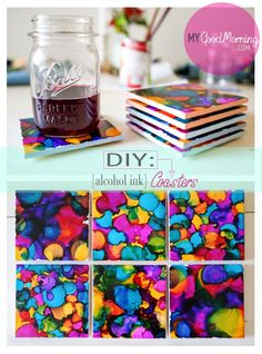Colourful Tile Coasters made with Adirondack Ink