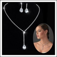 Alloy Silver Plated Drop CZ Necklace, Earrings Bridal Wedding Jewelry Set #Unbranded