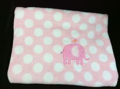 Just One You Carters Pink White Polka Dot Elephant Bird Baby Blanket Plush #JustOneYou