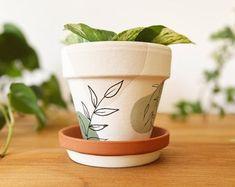 Decoupage clay pot vintage rose terracotta planter shabby | Etsy