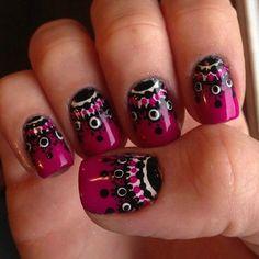 Tribal Purple Nail Art For Beginners