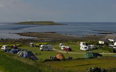 The Seal Shore Campsite on Arran slopes gently to the sea