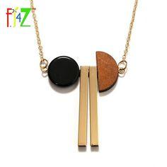 Simple Design Wood Semi-Circle Copper Tube Resin Long Pendant Necklace