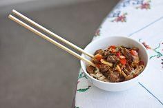 Laghman (handmade noodle with lamb stew)-- popular Uyghur food