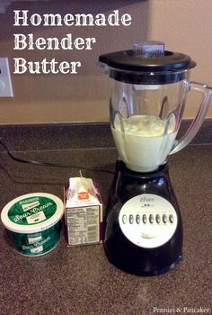 Easy homemade butter...in a blender!!! Super quick and yummy butter is soooo simple. Via Pennies and Pancakes | http://penniesandpancakes.blogspot.com/