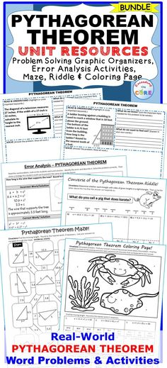 PYTHAGOREAN THEOREM BUNDLE - Includes 10 ERROR ANALYSIS activities & 10 PROBLEM SOLVING GRAPHIC ORGANIZERS, 1 MAZE, 1 RIDDLE, 1 COLORING ACTIVITY (over 50 skills practice and real-world word problems). Perfect for math stations, math assessments & math homework. Topics: ✔ Pythagorean Theorem (Finding the missing side of a right triangle) ✔ Converse of Pythagorean Theorem ✔ Solve a Right Triangle ✔ Pythagorean Theorem in 3-Dimensions 8th  Grade Math Middle School Common Core 8G7, 8EE2