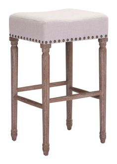 The Anaheim Bar stool has a plush backless seat, stunning vintage nailhead details