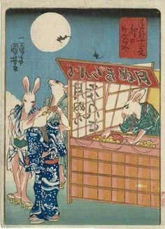History image on twitter / 卯のだんごや、歌川国芳 Rabbit Dumpling Shop, Utagawa Kuniyoshi