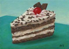 Marion Stephan - Ein Stück Sahnetorte, #marionstephanfineart, #cakepainting, #cake