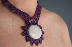 #Macrame and semi-precious stone #necklace from One Heart #jewellery. #jewelry #DEAF2012