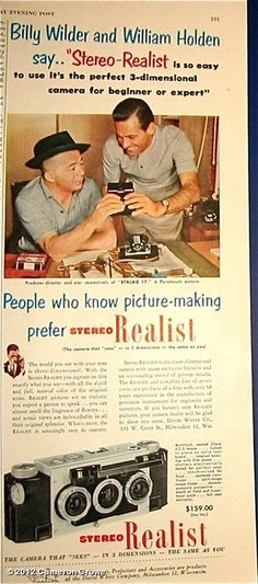 0 Billy Wilder and William Holden - stereo realist ad