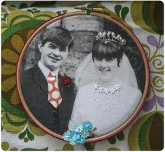 An embellished retro photo in a hoop.