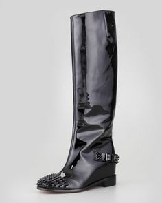 Egoutina Spiked Patent Red-Sole Boot, Black  by Christian Louboutin at Neiman Marcus. Christian Louboutin Heels, Tall Boots, Black Boots, Red Sole, Leather Boots, Neiman Marcus, Riding Boots, Heeled Boots, Me Too Shoes