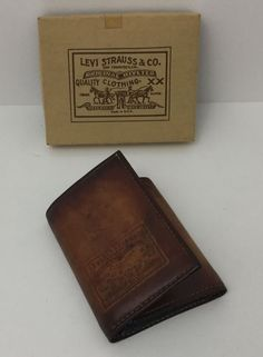 Vintage NOS Levis Strauss Orange Tab Leather Denim Trifold Wallet USA #Levis…