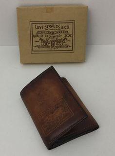 Vintage NOS Levis Strauss Orange Tab Leather Denim Trifold Wallet USA #Levis…