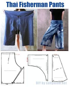 diy-sew-thai-fisherman-pants-with-pattern-by-saltymom-net - HosenAfter making the wrap skirt, I was thinking about what other clothing I can make where I can just tie it around my waist. The Thai Fisherman pants ! The ultimate one size fits all , roomy an Pantalon Thai, Sewing Pants, Sewing Clothes, Diy Clothes, Barbie Clothes, Barbie Barbie, Thai Hose, Clothing Patterns, Sewing Patterns