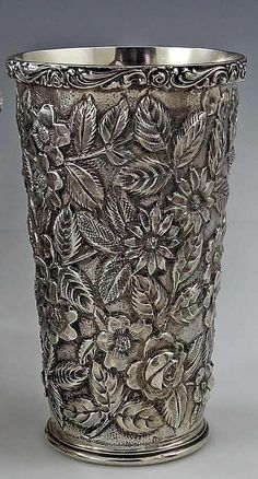 "Schofield sterling silver ""Baltimore Rose"" pattern       repoussé tumbler - Baltimore, c1905 #SterlingSilverVases"