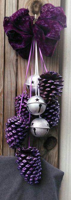Beautiful multi-tone brilliant purple CHRISTMAS DOOR SWAG with Silver Bells