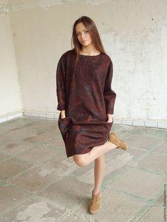 """Купить Платье валяное """"ВКУС ШОКОЛАДА"""" - коричневый, абстрактный, валяное платье, яркое платье"""
