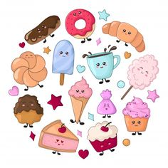 Set of kawaii food - sweets or desserts, characters Vector Art Kawaii, Cute Kawaii Drawings, Kawaii Stuff, Easy Doodles Drawings, Simple Doodles, Cartoon Cookie, Food Clipart, Diy Gifts For Boyfriend, Free Vector Graphics