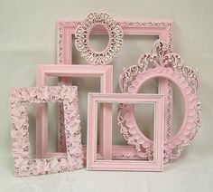 Diy Crafts - Shabby Chic Picture Frame Pastel Pink Picture Frame Set Ornate Frames Wedding Nursery Shabby Chic Home Decor