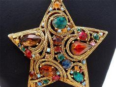 Large Multi Color Rhinestone Star Brooch Pendant 18K RGP Gold Necklace Vintage | eBay Antique Brooches, Antique Jewelry, Vintage Jewelry, Gems Jewelry, I Love Jewelry, Jewelry Ideas, Vintage Costume Jewelry, Vintage Costumes, Gemstone Brooch