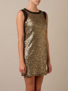 Vestido de paetês dourado CAVALERA, Vestido bordado, R$ 349,00