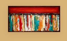 """Acrylic Paintings, Art, Abstract, Modern, Canvas, Large Original Acrylic Abstract Painting by Ora Birenbaum Titled: On Holiday 24x48x1.5"""""""