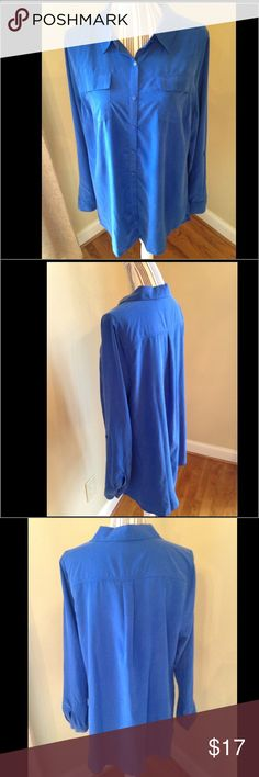 Lane Bryant NWTS Sz 14 blue button down career 👚 • This career Top measures 23 inches from armpit to armpit measuring 46 inches across...  • the length is 30 inches long..  • No signs of wear..I take care of all my items and value every customer.  • ...All items are stored in a clean and smoke free environment.  • As I want your item to arrive to you on time, I ship fast. Lane Bryant Tops Blouses