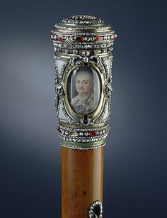 Walking Stick, Fabricius, F..  Denmark. Last quarter of the 18th century, Rush, gold, enamel, cut diamonds, garnets and miniature; chased, engraved and painted. (c) State Hermitage Museum