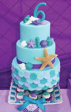 Ariel Inspired Ombre Little Mermaid Party Teal #038; Purple