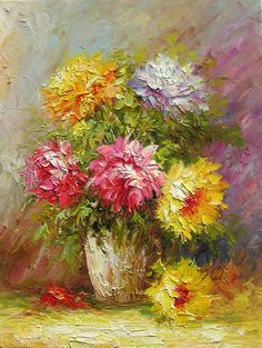 Oil Painting Flower Burst by Marchella Oil Painting Flowers, Abstract Flowers, Texture Painting, Painting & Drawing, Colorful Flowers, Paintings I Love, Beautiful Paintings, Oil Paintings, Art Floral