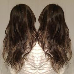 Beautiful brunette by Crofty's Hair!  Formula: #KenraColor 6RV + 5N + a touch of 4N (for added depth) 10vol on roots. Pulled through after root application in sections feathering down to leave out blonde in some sections (face framers and back accents.) Toned blonde pieces 9VM 9vol and smudged to blend lines with color applied.