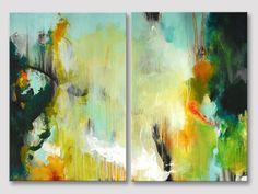2 Teile original abstrakt XL bemalen gestreckten von ARTbyKirsten