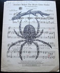 Hanging Spider Art Print on Vintage Music Sheet - Gothic Horror Wall Decor Wall Print Absence Makes The Heart Grow Fonder, Spider Art, Sheet Music, Music Sheets, Gothic Horror, Vintage Music, Compass Tattoo, Wall Prints, Handmade Items